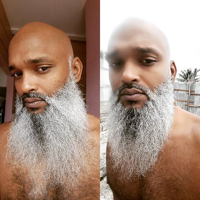 My barber was booked to hell up so I did it ma damn self! Kashia chipped in too!  #stillgotskill #selfbarber  #noexcuses #helpyourself  #Decembeard  #silverbeard over silver bells!  #BeardLife #BeardUp #BeardOn  #CleanCrown (thanks kashia lol) #BeardIslandGang #TheBIGbrand #TheBeardedOnes #Barbados by @iamrhaj