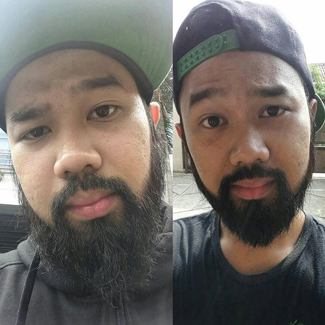 The before and after they trim my beard.. I haven\'t shaved for almost 5 months.. #beard #beardsofinstagram #beardedmanclub #beardclub #beardgang #decembeard by @eeiboogie